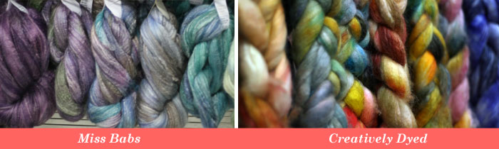 Spinning fiber by Miss Babs, Creatively Dyed